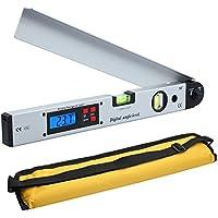 Buscador de Ángulo Digital 400mm/16 inch 0~225° Retroiluminado LCD Digital Inclinómetro Transportador Nivel de Ángulo Indicador con Bolsa Portátil para Aplicaciones Industriales, Obras de Renovación