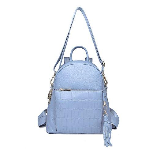 Mena Uk Damen Leder Handtaschen mit Krokodil Muster Multifunktions Rucksack Schultertaschen Water Blue
