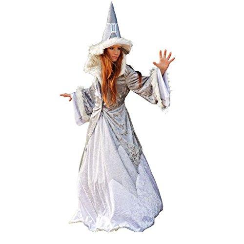 Damen Kostüm Schneekönigin Glitzer Fasching Märchen Fee Magierin Hexe Damen spitzer Hut weites Kleid Jacke mit Kunstfell Gr. XS (Frau Magierin Kostüm)