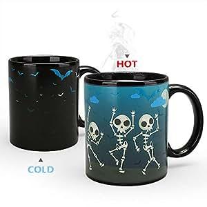 Nowsend Tasse mit Thermoeffekt Farbwechsel Tasse Colour Changing Mug ca. 300ml (Skeleton)