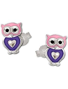 CLEVER SCHMUCK Silberne Ohrstecker kleine Eule 7 mm mit Herz rosa violett kindlich bunt lackiert und glänzend...