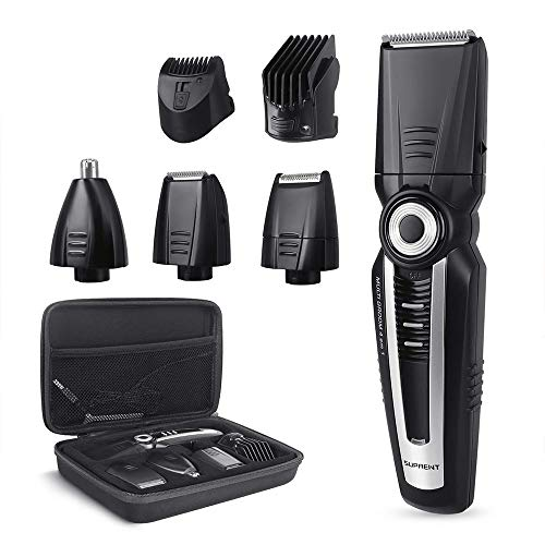 Beard Trimmer Men SUPRENT Rechargeable Beard Trimmer with Travel Case, 4 in  1 Body Groomer Kit of Mustache Trimmer, Nose Hair Trimmer and Precision