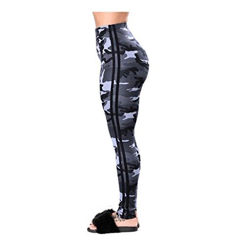 Vovotrade® Pantalons de Sport Femmes Gymnastique Exercice de Yoga Jogging Taille Moyenne Camouflage Pantalons en Jambières élastiques Blanc