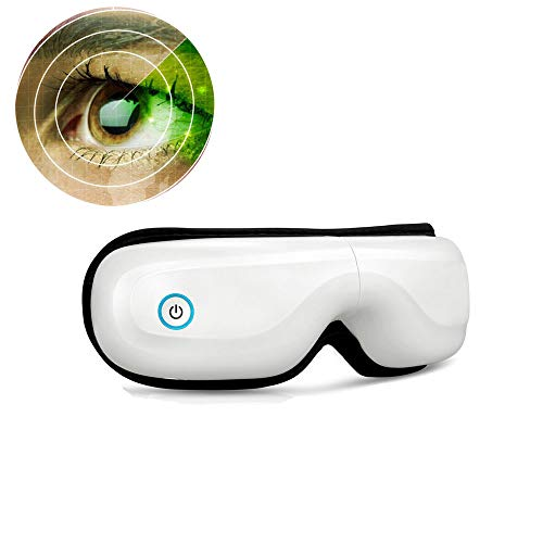 Dongjiuk Wiederaufladbares elektrisches Augenmassagegerät - mit Graphenheizung, Luftdruck-Vibrationsmassage mit Geist und Musik, Gesichts- und Augenentspannung Verbessern Sie den Schlaf (Glas-kopfhaut-massagegerät Elektrisches)