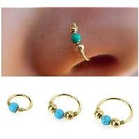 MG_Beaface J*myi 1 pcs Bleu Turquoise Doré Anneau de Nez (A)