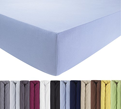 ENTSPANNO Spannbettlaken - 2x Betttuch in Hellblau für Baby & Kinder für Babybett und Kinderbett [60x120cm & 70x140cm]