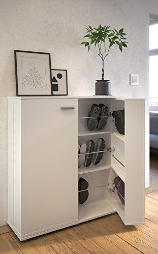 demeyere Schuhschrank & Sideboard CUBE in Weiß mit 2 Türen und Platz für 24 Paar Schuhe,100cmx108cmx33cm (BxHxT)