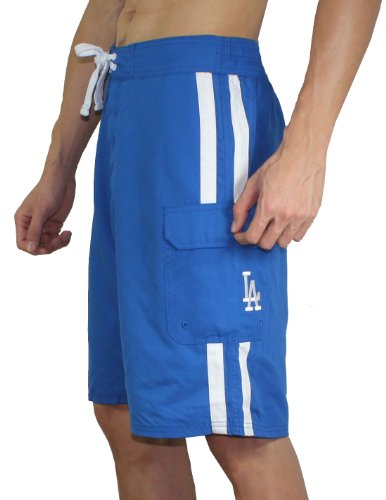 feed MLB Mens Los Angeles DodgersAthletic Sport Shorts de bain Blue