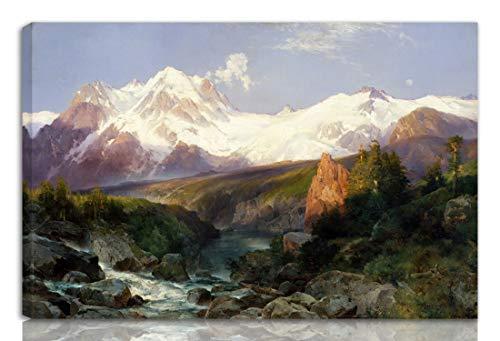 Berkin Arts Thomas Moran Gedehnt Giclee Auf Leinwand drucken-Berühmte Gemälde Kunst Poster-Reproduktion Wand Dekoration Fertig zum Aufhängen(Die Teton Range)#NK -