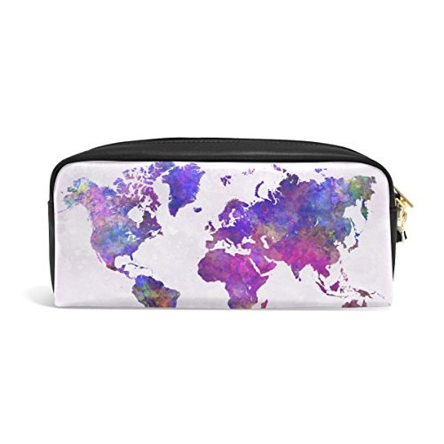 zzkko Watercolor Abstrakt Weltkarte Leder Reißverschluss Federmäppchen Pen Stationäre Bag Kosmetik Make-up Bag Tasche Geldbörse (Weltkarte Stationären)