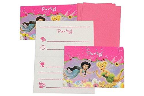 Unbekannt 12 TLG. Set Einladungskarten Disney Tinkerbell Fairies + Umschlag Party Einladung Karte Fairy Fee
