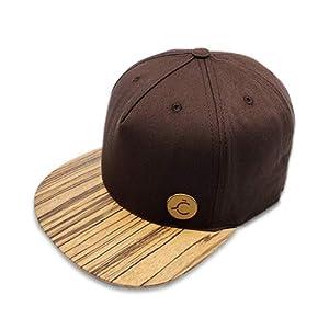 5 Panel Cap,Hat, Snapback, Kappe, Zebrano Holz/Wood Brim, M/L