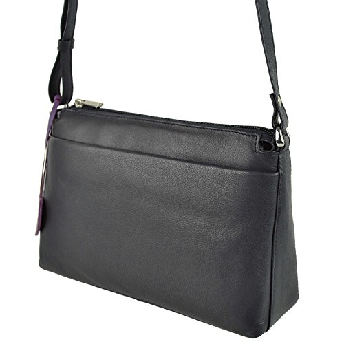 Mala Leather, Borsa a tracolla donna Nero Blu nero