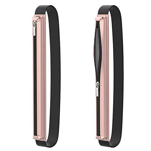 MoKo Stift Hülle Kompatibel mit Apple Pencil 1st Gen, PU Leder Stifthalter mit Reißverschluss & Gummizug Stift Tasche Schutzhülle Ersatz für iPad Mini 5 2019 Pencil - Rose Gold