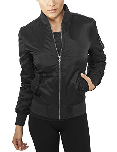Urban Classics Damen Bomberjacke Ladies Basic Bomber Jacket, Schwarz (Black 00007), Small