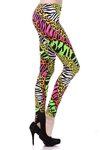 NeonNation Helle Gamaschen der 1980er Jahre Gepard Cheetah Anzughose für Damen Mittel Mehrfarbig (Cheetah Leggings Für Frauen)