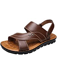 Vocni Men's Open Toe Casual Leather Comfort Shoes Sandals