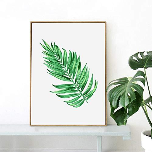 wydlb Aquarell Palm Tree Branches Leinwand, Kunstdruck/Poster Wanddekoration Tropische Pflanzen Palmblätter Leinwand, Gemälde Bilder Home Decoration 60x80 cm No Frame