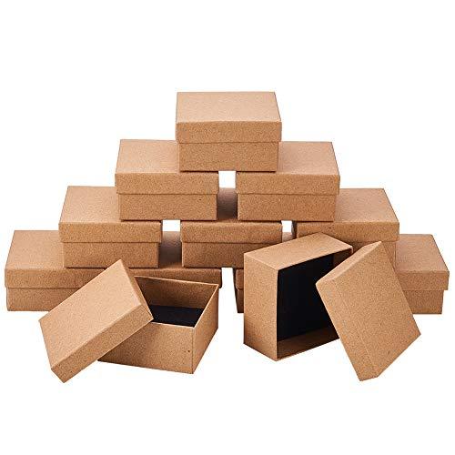 nbeads 12Karton Schmuck Set Box, für Ring, Halskette, quadratisch, 7x 7x 3,5cm hautfarben
