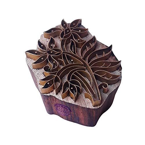Royal Kraft Künstlerisch Holz Stempel Messing Pflanze Muster Drucken Lehmblöcke -
