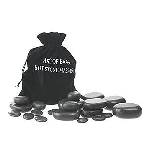 Art-of-Baan® Hot Stone Set: 20 schwarze Basalt Steine Massagesteine zur Wärmetherapie Hotstone