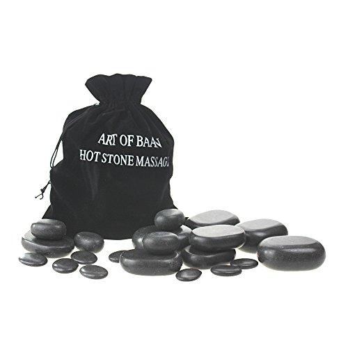 Art-of-Baan® Hot Stone Set: 20 schwarze Basalt Steine Massagesteine zur Wärmetherapie Hotstone (Stone Heater-massage)
