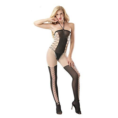 Sexy Body Lingerie Erotische Unterwäsche Amazon Net Kleidung Amazon Explosion Modelle Perspektive Hängenden Nacken Strümpfe Gefälschte Zwei Kleidungsstücke Großhandel - Schwarz Code