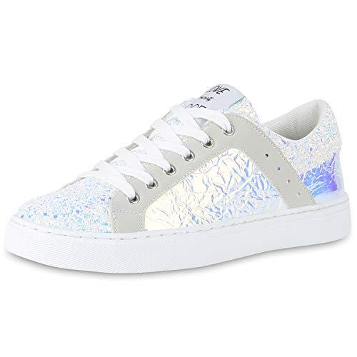 SCARPE VITA Damen Sneaker Low Metallic Holo Turnschuhe Schnürer Glitzer 180377 Weiss Metallic 38