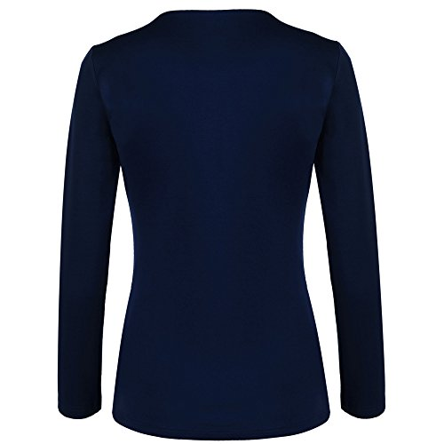 Meaneor Damen Knopf Business Jacke Blazer Übergangsjacke Military Jacke Slim Fit Mantel Reverskragen Asymmetrisch Dunkelblau