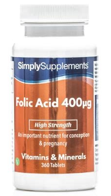 Ácido Fólico 400 mcg - 360 comprimidos - 1 año de Suministro