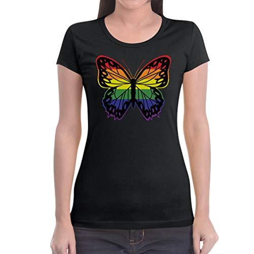 LGBT Shirt Pride Parade Gay & Lesbian Rainbow Butterfly Damen T-Shirt Slim Fit XX-Large ()