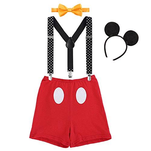 IBTOM CASTLE Säugling Baby Jungen Mädchen Mickey Mouse 1. / 2./ 3. Geburtstag Halloween Kostüm Outfit Set Unterhose+Fliege + Y-Form Hosenträger+Maus Ohren 4pcs Bekleidungssets 006 Rot 12-18 Monate