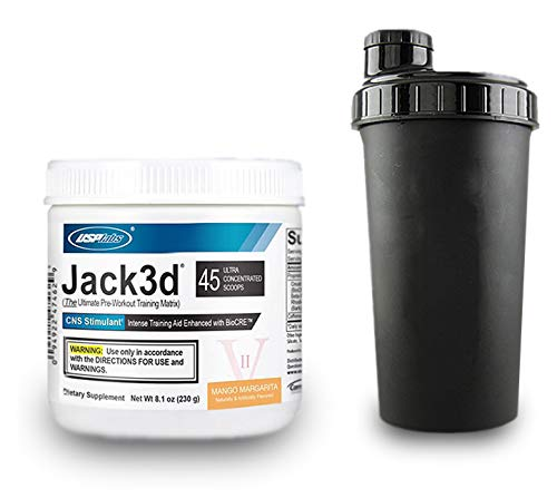 USP Labs Jack3d Advanced + (Shaker) Pre Workout Fitness Booster Trainingsbooster Bodybuilding Sport (Mango-Margarita)