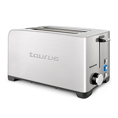 Taurus Mytoast Duplo Legend Tostador de 40 mm, 1400 W, Acero Inoxidable, 2 Ranuras, Gris