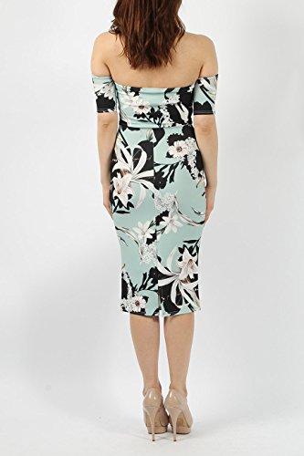 Mesdames Floral Bandeau Robe Bodycon EUR Taille 36-42 Menthe