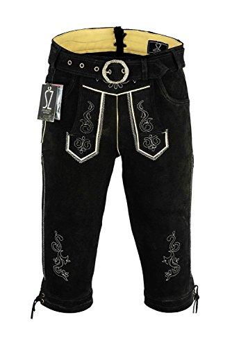 SHAMZEE Trachten lederhose Knielang inklusive Gürtel aus Echtleder in Schwarz farbe größe 46 - 62 (54, Schwarz) Herren Schwarz Gürtel Größe 46