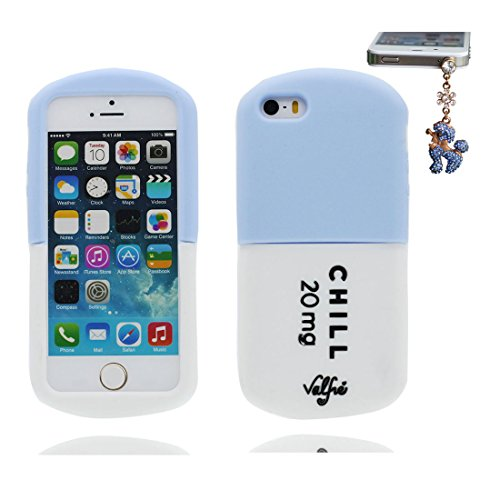 iPhone 5 Handyhülle, Cover iPhone 5S 5C 5G Hülle 3D Pill -Silikon-Gummi-Gel-Shell TPU flexibles Bowknot Shell iPhone SE case Staub Kratzer beständig und Staubstecker Noticeable Fashionable # 3