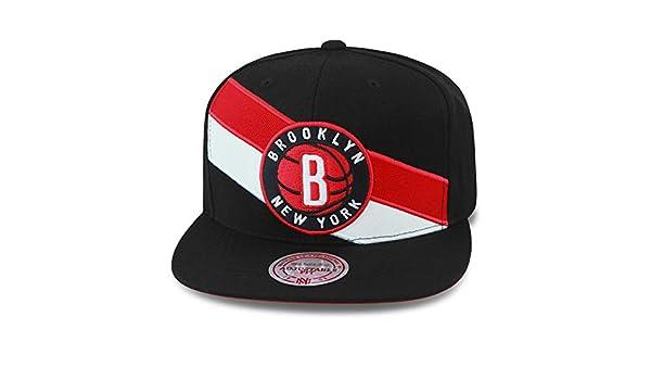 Mitchell /& Ness Brooklyn Nets Blazer Snapback M/ütze Schwarz Rot Wei/ß gestreift