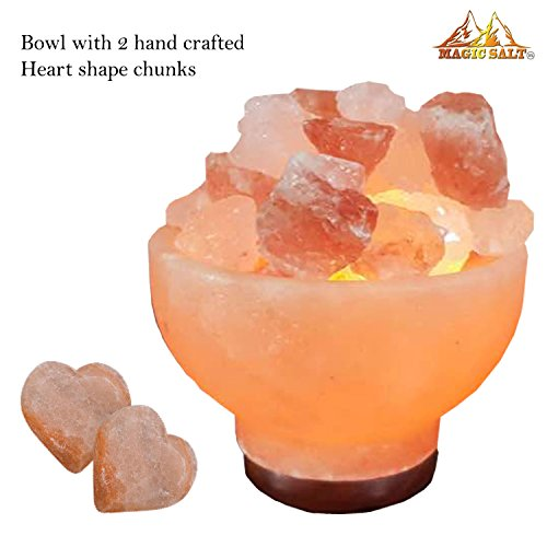 By Magic Salt ® Himalayan Salt Natural IONES Therapeutic Fire Bowl Lamp...
