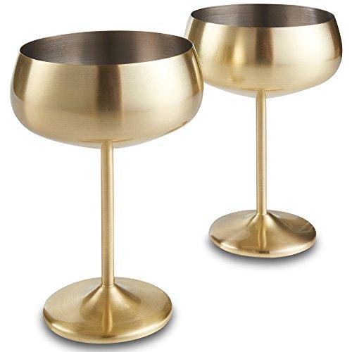 VonShef 2-teiliges Set bruchsichere Sektschalen Champagner Cocktail Gläser Edelstahl - Gold