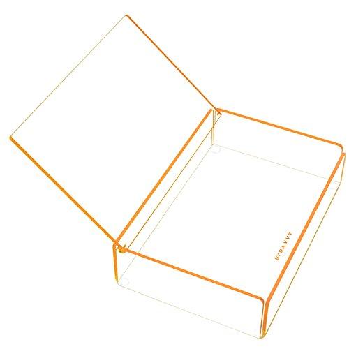 VERFÜGBAR IN 4 FARBEN Transparentes Acryl Stapelfach mit hellem farbigem Trimm - Blau, Rosa, Orange oder Grün mit Deckel. Stapel auf kleine und große Korb im Flash Tidy Angebot. Orange (Der Stapeln Körbe)