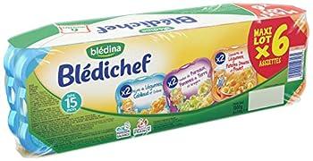 Blédichef de Blédina - 24 Assiettes dès 15 Mois, 3 Recettes - Légumes/Cabillaud, Poireaux/Pomme de terre et Cassolette de légumes/Patates douces/Poulet