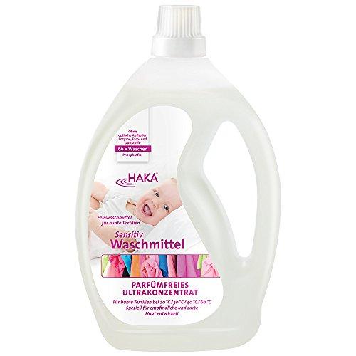 HAKA Sensitiv-Waschmittel flüssig, Allergiker und Baby-Kleidung geeignet, Dermatest sehr gut.