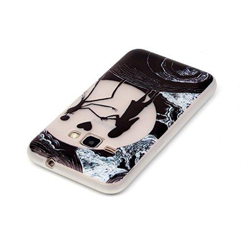 Voguecase® Per Apple iPhone 5 5G 5S, Custodia Silicone Morbido Flessibile TPU Custodia Case Cover Protettivo Skin Caso (Nero - unicorno) Con Stilo Penna danza ragazza