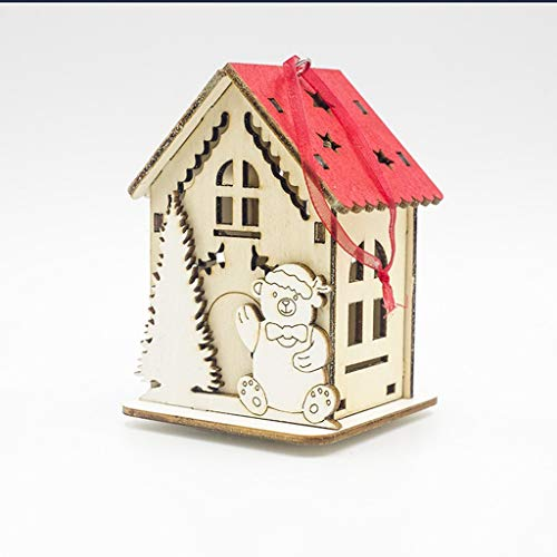 Mitlfuny Festival dekor,Christmas,Halloween,Weihnachtsdekoration,Halloween deko,Halloween kostüm,LED-Licht-Holzhaus-Nette Weihnachtsbaum-hängende Verzierungs-Feiertags-Dekoration (Baby Hot Dog Kostüm)