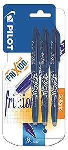 Pilot FriXion - Penna a sfera, cancellabile, inchiostro gel, confezione da 3, colore blu
