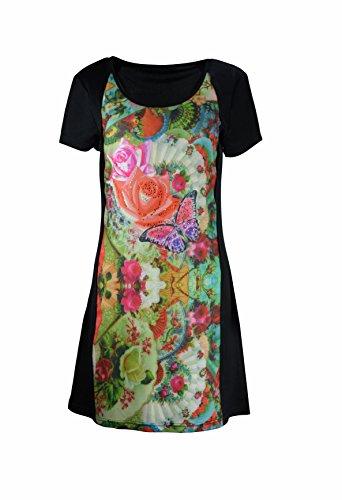 Robe manches courtes Ladies avec Multicolor Motif Imprimer Noir