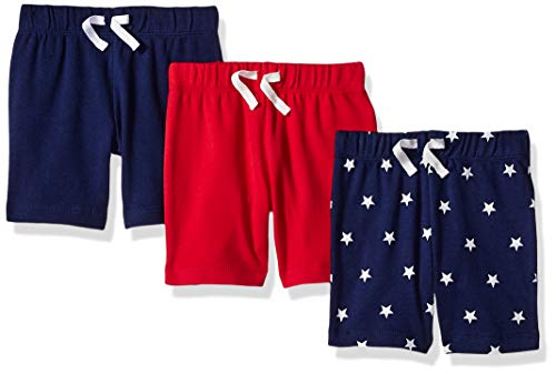 Baumwoll-pull-on Shorts (Amazon Essentials 3-Pack Pull-On infant-and-toddler-shorts, Uni Americana, Newborn)