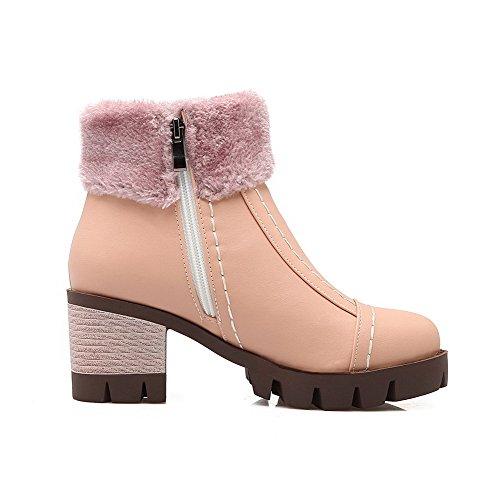 AllhqFashion Damen Rein Weiches Material Hoher Absatz Ziehen auf Stiefel mit Metallisch, Pink, 40