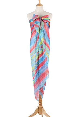 PB-SOAR XXL Women's Ladies Sarong Pareos Wrap Beach Cover Up Swimwear Pareo Dress with Colorful Stripe, large and soft